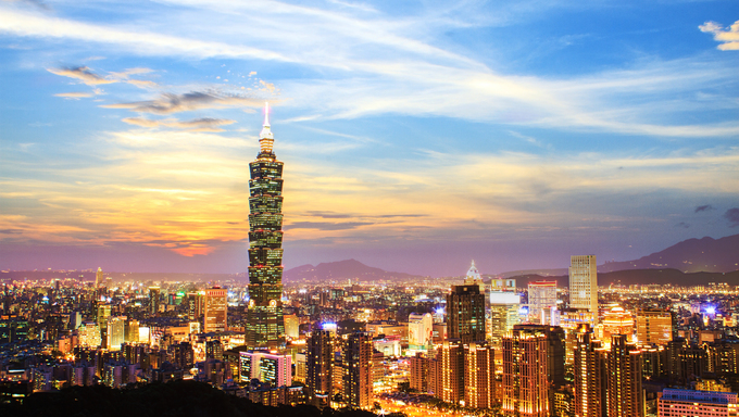 City view of Taipei City, Taiwan.