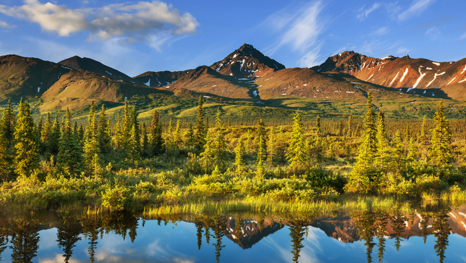 Serenity lake in tundra. Big Lake, Alaska.
