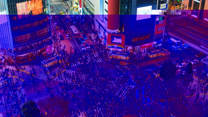 The famous Shibuya Crossing in Tokyo, Japan.
