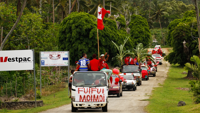 People celebrate arriving Fuifui Moimoi on Vavau island, Tonga