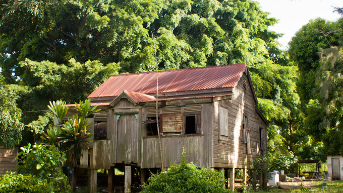 A vacant dwelling on Tongatapu Island in the Pacific