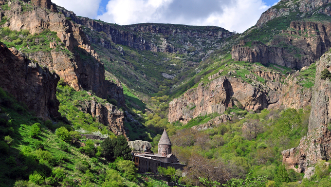 The monastery of Geghard  is a  architectural construction in the Kotayk province of Armenia. listed as a UNESCO World Heritage Site.