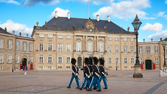 Royal Gard near Amalienborg castle in Copenhagen, Denmark