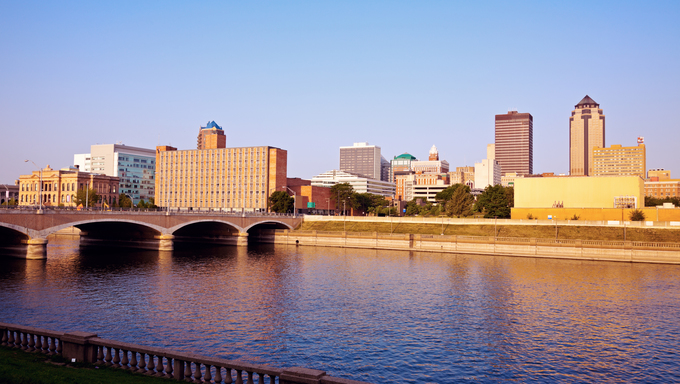 The morning skyline in Des Moines, Iowa.