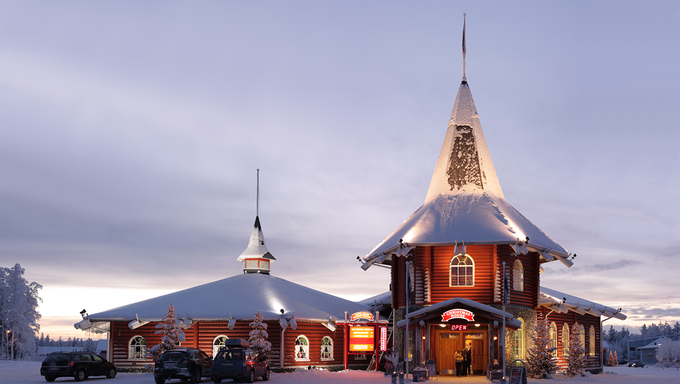 ROVANIEMI, FINLAND - JANUARY 4: Christmas house in official Santa Claus village on January 4, 2011 in Rovaniemi, Finland. Santa Claus Village is an amusement park near Rovaniemi in the Lapland region of Finland.