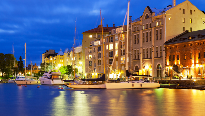 Scenic night view of the Old Port in Katajanokka district of the Old Town in Helsinki, Finland