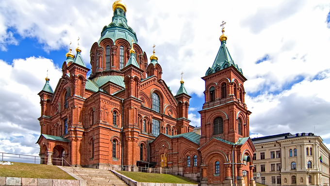 Uspensky Cathedral in Helsinki. Finland. Tourist destination.