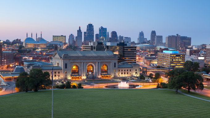 Image of the Kansas City skyline at twilight.