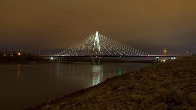 The Christopher S. Bond Bridge in Kansas City, Missouri (often referred to as the New Paseo Bridge) is a dual-span cable-stayed bridge, anchored by a 260-foot tall delta-shaped pylon.  The Bond bridge is a replacement for the Paseo Bridge.