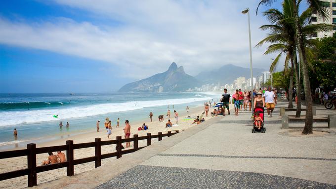 Ipanema beach along seafront in Rio.