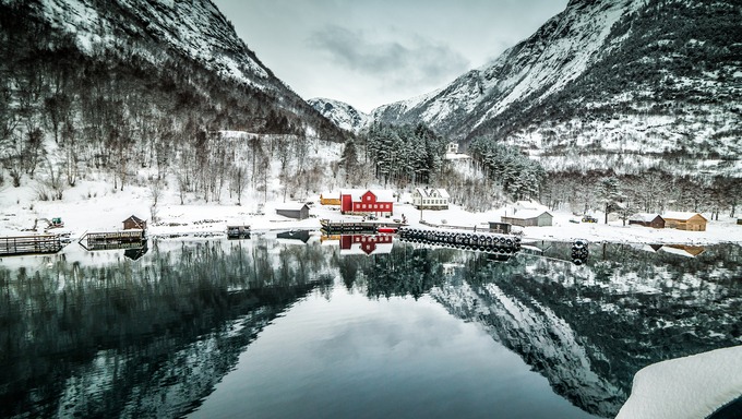 fjords. high mountains on twilights in Norway, winter