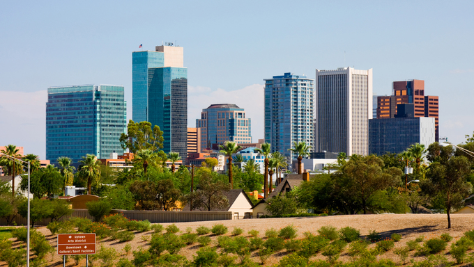 View of Phoenix city in Arizona.