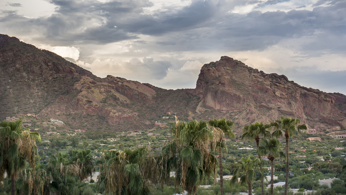 Landscape photo of majestic Camelback Mountain Phoenix in Scottsdale Arizona.