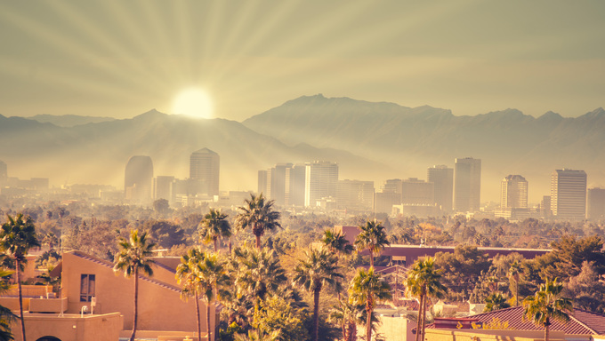 Sunrise over Phoenix, Arizona.