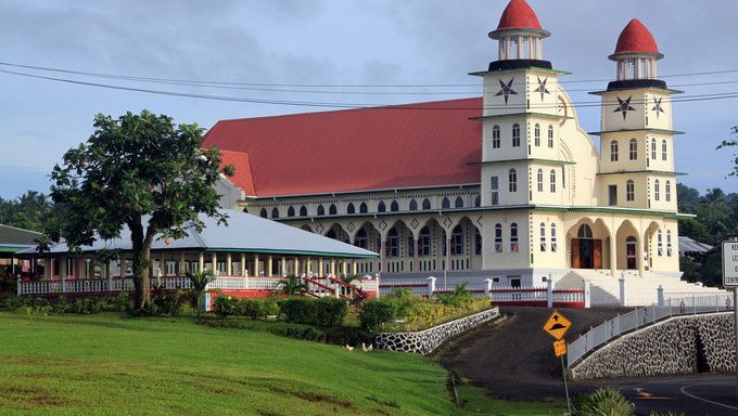 Big church near the road on Savaii island, Samoa