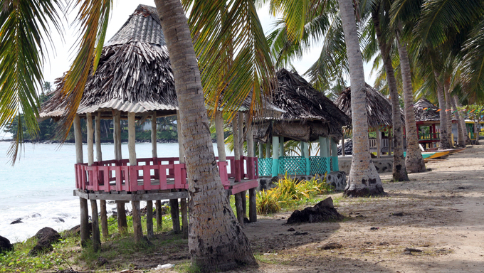 Huts under palm trees on Savaii island in Samoa