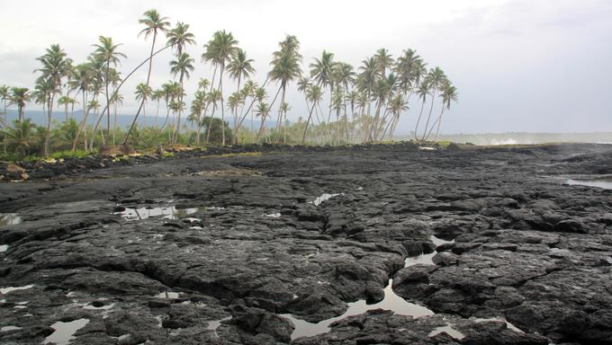 Black lava field on savaii island, Samoa