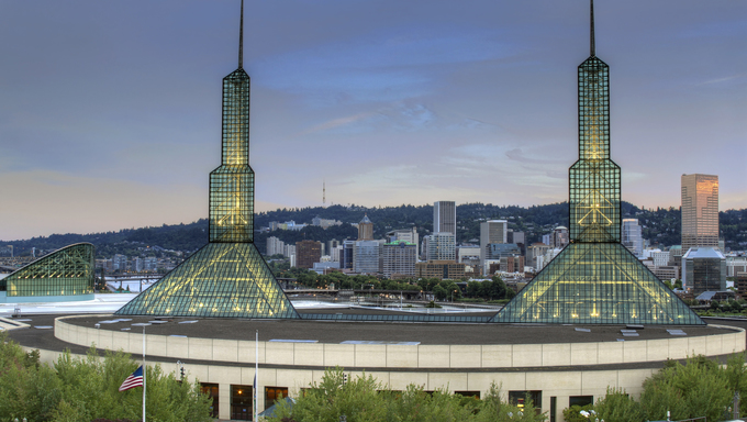 Oregon Convention Center with Portland Downtown Skyline.