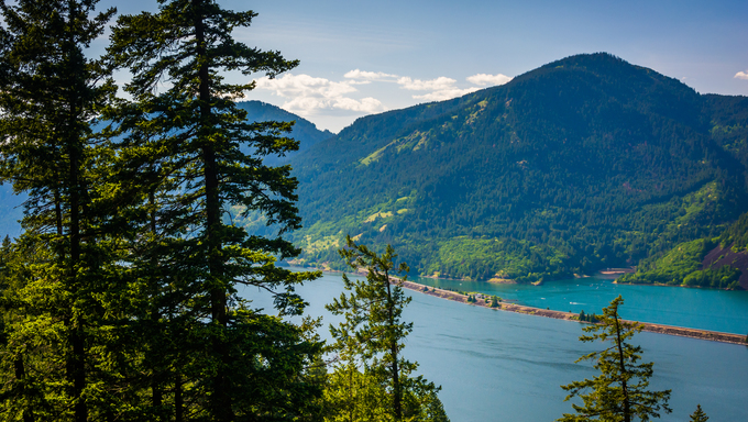 View of the Columbia River from Mitchell Point, Columbia River Gorge, Oregon.