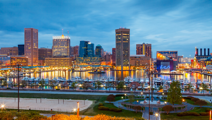 View of downtown Baltimore at night.