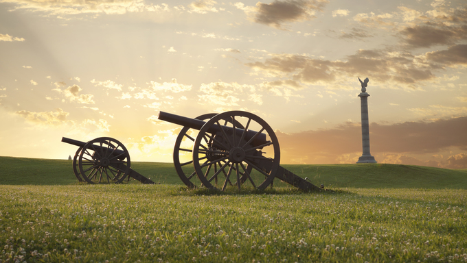 A pair of cannons at sunset on the Antietam National Battlefield near Sharpsburg, Maryland.