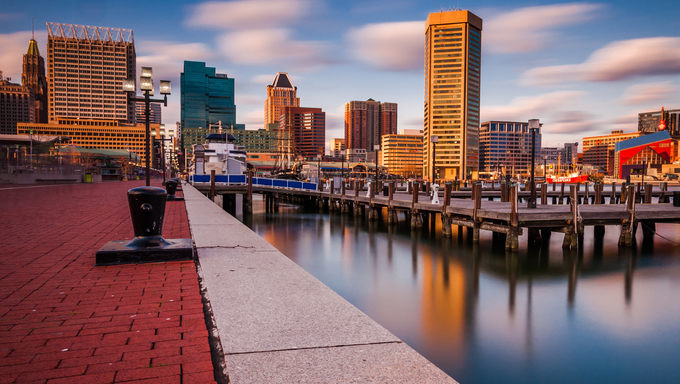 Long exposure of the Baltimore Skyline and Inner Harbor Promenade, Baltimore, Maryland.