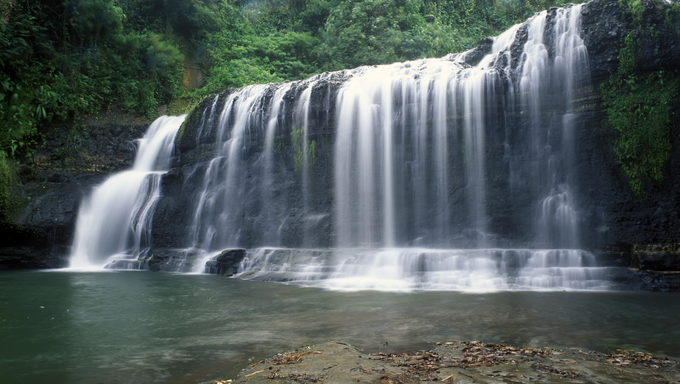 Talofofo Falls, Guam. Scenic island waterfall. A travel tourist attraction destination in Marianas Micronesia.