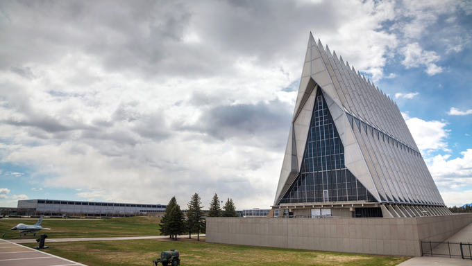 United States Air Force Academy Cadet Chapel in Colorado Springs, Colorado. It's a military academy for officer candidates for the United States Air Force.
