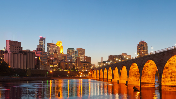 A view showing the Minneapolis skyline.