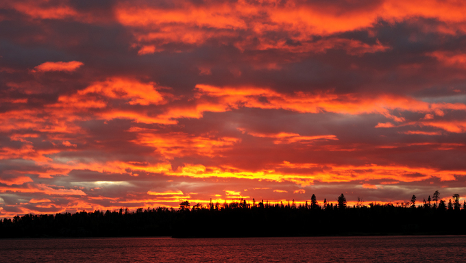 Sunset on Tuscarora Lake In the Boundary Waters.