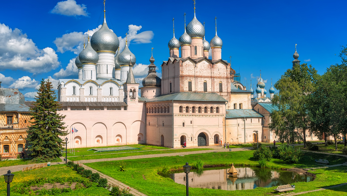 Russian orthodox cathedrals in Rostov Kremlin, Golden Ring, Russia