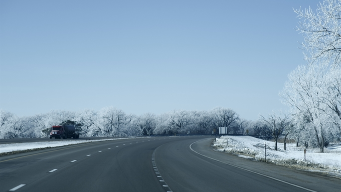I-80 Highway in January with snow covered trees.