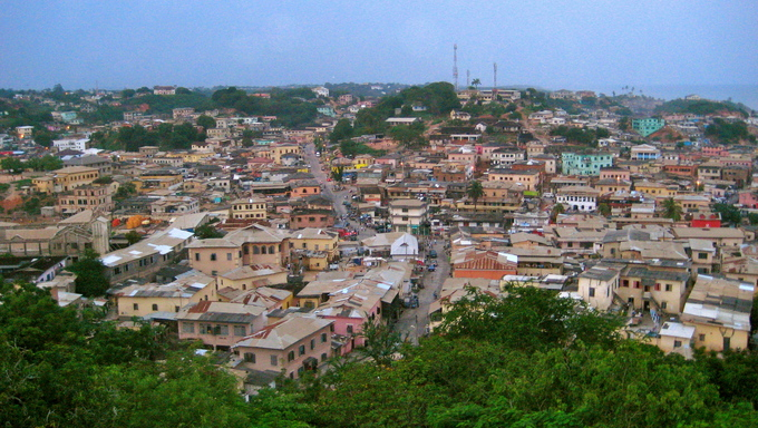 An aerial view of the village of Cape Coast in Ghana, Africa.