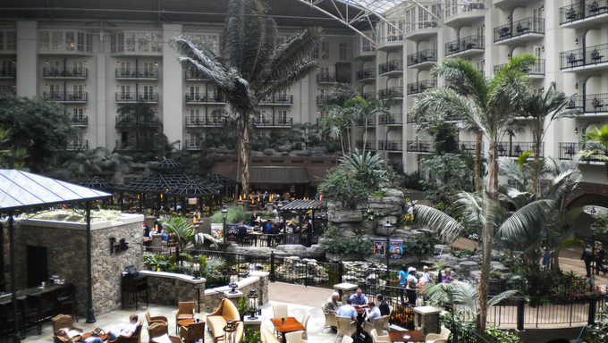 Beautiful Gaylord Opryland Hotel in Nashville Tennessee.  Atrium, resturants, and hotel room balconies.
