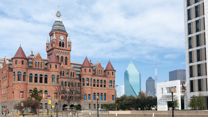 The Dallas County Courthouse, built in 1891 of red sandstone rusticated marble accents, is an historic governmental building located at Dallas, Texas. Now is Old Red Museum.