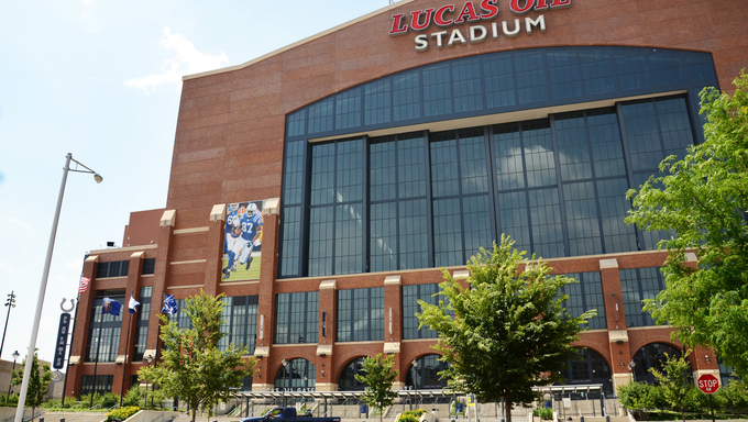 INDIANAPOLIS - JUNE 17: Lucas Oil Stadium, home of the Indianapolis Colts football team, is shown June 17, 2014. It covers nearly 1.8 million square feet and hosts almost one million visitors a year.