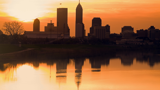 Morning silhouette of Indianapolis, Indiana, USA.