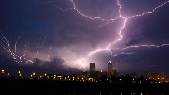 Severe thunderstorm over the city of Indianapolis, Indiana