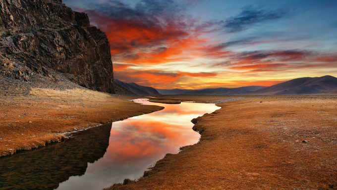 Colorful sunrise in mongolian wilderness
