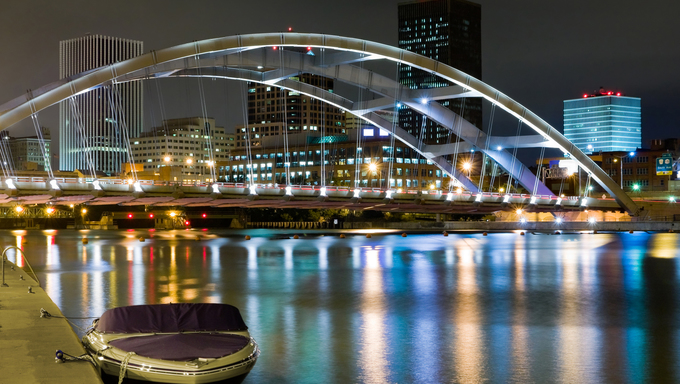 Rochester and bridge at night.