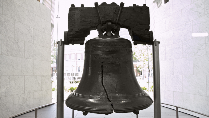 Historic Liberty Bell at Independence Hall National Historic Park.