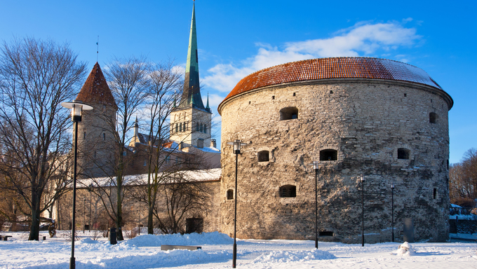 Winter landscape with old town. Tallinn, Estonia, EU