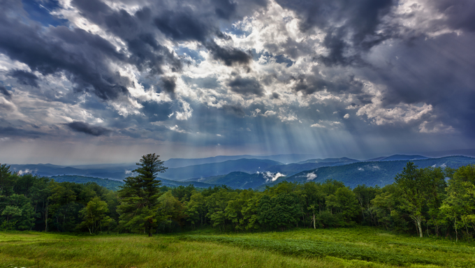 Storm sweeps over Shenandoah Valley from Skyline Drive in the Blue Ridge Mountains of Virginia.