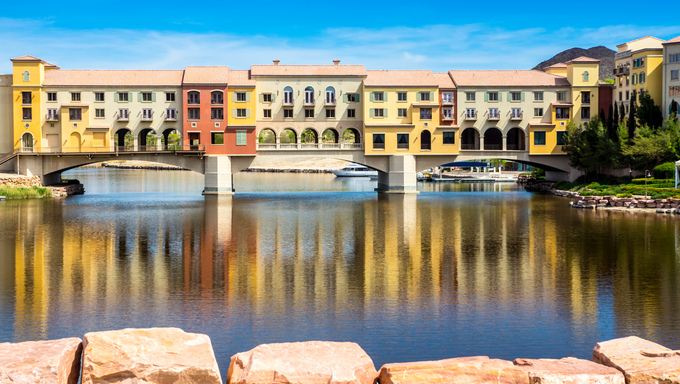 HENDERSON, NEVADA - MARCH 25: A bridge over 320-acre Lake Las Vegas recreates the ambiance of Italy at an upscale, bankrupt housing development in Henderson, NV on March 25, 2013. .