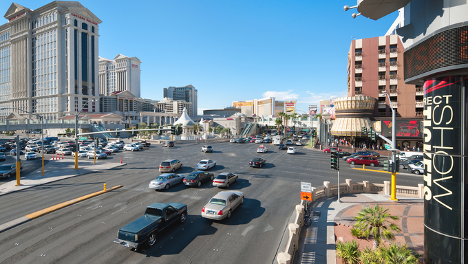 Las Vegas, Nevada, USA - September 21, 2011: View of the central road of Las Vegas on September 21, 2011; GPS information is in the file