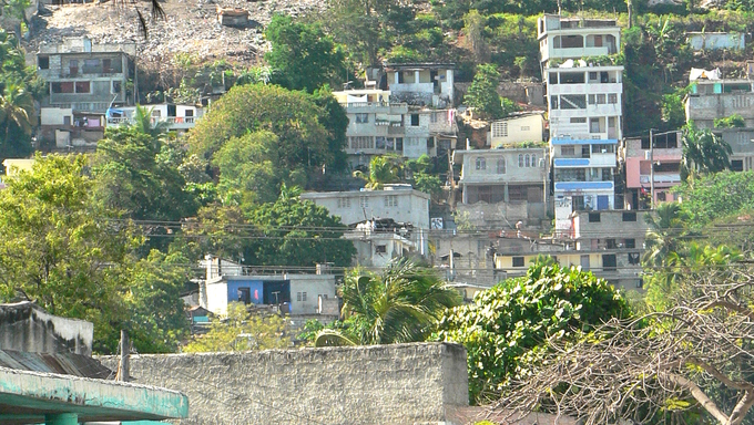 Houses covering a hillside in Haiti.