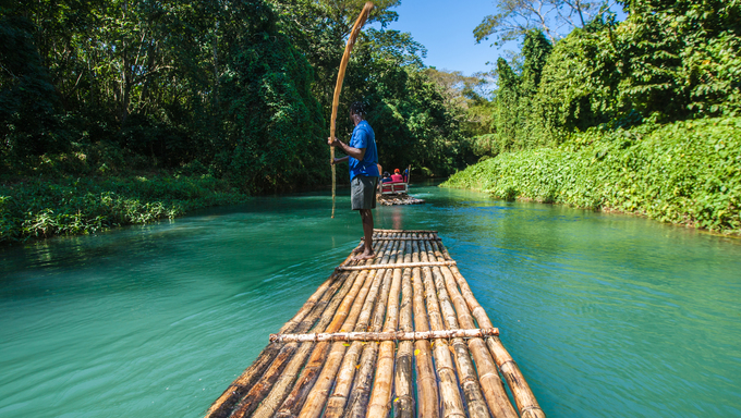 Bamboo river boat tour on the Martha Brae River in Jamaica.