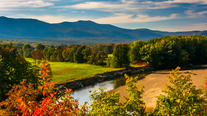 View of the Saco River in Conway, New Hampshire.