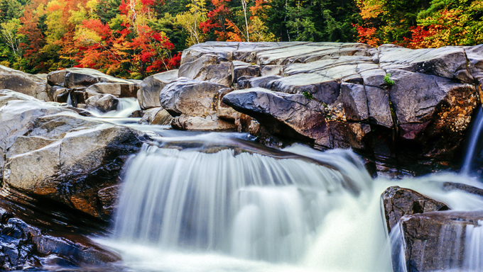 White Mountains, New Hampshire. Autumn at Middle Falls