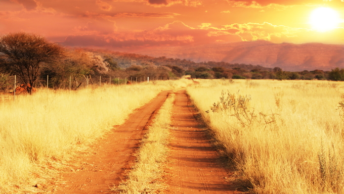 One of the many Kenyan dirt roads at sunset.